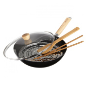 Ching He Huang's Lotus Wok Scratch Resistant with Even Heat Distribution & Eat Clean Cookbook from JML
