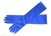 Women Satin Party Dress Prom Evening Wedding Bridal Long Finger Gloves Blue