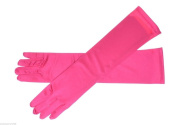 Women Satin Party Dress Prom Evening Wedding Bridal Long Finger Gloves Bright Pink