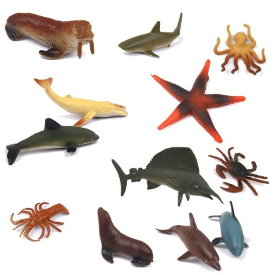 Homgaty 12 Sea Animal Figures Set Display Model Collection Toy Kid Children Education Toy