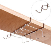Deluxe Under the Shelf 10-Hook Space Saver Espresso Cup Storage Drying Rack / Cupboard Mug Holder, Silver Stainless Steel -