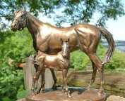 6103 STUNNING COLD CAST BRONZE MARE & FOAL 'PROTECTION' BY D GEENTY