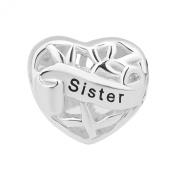 Heart I Love Sister Charm Sterling Silver Cheap Family Tree Beads Fit Pandora Charm Bracelets