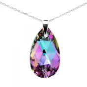 Made with. Crystals Pink Purple Blue Teardrop Pendant Necklace for Women Sterling Silver 925