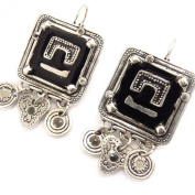Earrings / Dormeuses 'french touch' 'Anamaya' black.