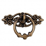OULII Vintage Door Knobs Drawer Pull Handles Cabinet Cupboard Dresser Ring pulls Pack of 10, Antique Brass