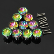 KING DO WAY Pack of 10 Drawer Door Knob Cupboard Cabinet Pull Handle 30mm Multi Colour