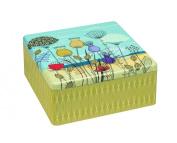 ST KILDA Sand Dunes FLOWER DESIGN Square Biscuit Tin / Cookie / Cake Tin / Kitchen Storage Tin - 22cm