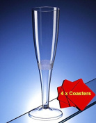 30 x High quality one piece plastic champagne flute / glass - 160 ml (6oz).Ideal for picnics, camping and glamping, festivals, outdoor pool, bbq, garden and special occasions. Offer Pack of 30 glasses with 4 x AIOS drinks mats in box.