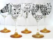 Orange 'Zebra' Hand Painted 340ml Wine Glass by Memories-Like-These UK
