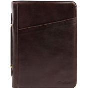 Tuscany Leather Claudio - Exclusive leather document case with handle Dark Brown