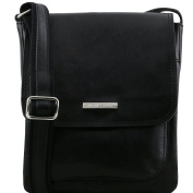 Tuscany Leather Jimmy - Leather crossbody bag for men with front pocket Black Leather bags for men