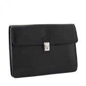 CTM Man Woman Busines Bag, High Quality Briefcase Made in Italy in Genuine Leather - 37x27x10 cm - Black