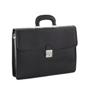 CTM Man Woman Busines Bag, High Quality Briefcase Made in Italy in Genuine Leather - 41x30x14 cm - Black