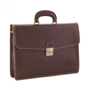 CTM Man Woman Busines Bag, High Quality Briefcase Made in Italy in Genuine Leather - 41x30x14 cm - Brown