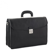 CTM Man Woman Busines Bag, High Quality Briefcase Made in Italy in Genuine Leather - 41x31x17 cm - Black