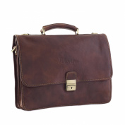 CTM Man Woman Busines Bag, High Quality Briefcase Made in Italy in Genuine Leather - 41x32x12 cm - Brown
