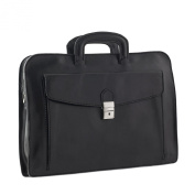 CTM Man Woman Busines Bag, High Quality Briefcase Made in Italy in Genuine Leather - 42x30x10 cm - Black