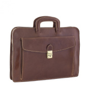 CTM Man Woman Busines Bag, High Quality Briefcase Made in Italy in Genuine Leather - 42x30x10 cm - Brown