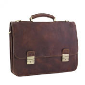 CTM Man Woman Busines Bag, High Quality Briefcase Made in Italy in Genuine Leather - 43x31x22 cm - Brown
