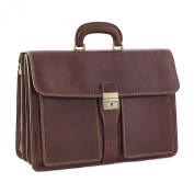 CTM Man Woman Busines Bag, High Quality Briefcase Made in Italy in Genuine Leather - 44x33x21 cm - Brown