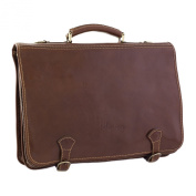 CTM Man Woman Busines Bag, High Quality Briefcase Made in Italy in Genuine Leather - 45x13x31 cm - Brown