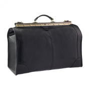 CTM Man Woman Busines Bag, High Quality Briefcase Made in Italy in Genuine Leather - 53x38x29 cm - Black