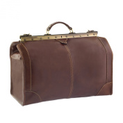 CTM Man Woman Busines Bag, High Quality Briefcase Made in Italy in Genuine Leather - 53x38x29 cm - Brown
