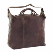 CTM Man Woman Busines Bag, High Quality Briefcase Made in Italy in Genuine Leather - 54x47x27 cm - Brown