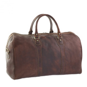 CTM Man Woman Busines Bag, High Quality Briefcase Made in Italy in Genuine Leather - 53x33x26 cm - Brown