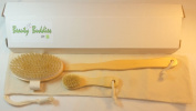NEW! - Dry Body Brushing Set - Long Handle Body Brush & Face Brush - All Natural Made of Boar Bristle