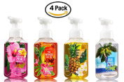 Hawaii Luau Soap Collection (Set of 4) Hawaiian Pink Hibiscus + Tiki Mango Mai Tai + Golden Pineapple Luau + Fiji White Sands -- Bath & Body Works Gentle Foaming Tropical Hand Soaps for Summer 2016