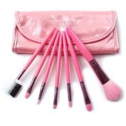 Megaga Professional makeup Brush Set,7 pcs colourful travelling make up brush set includes brushes for the eyes, face ,eyelash,eyebrow brush (Pink) by Megaga