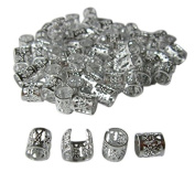 Dreadlock Beads for Hair, Braids, and Locs, 50 pieces, by Lock Love in SILVER Metal Filigree Cuff for Men or Women