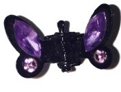 Small Two Prong Black Butterfly Clip with Purple Rhinestones - J57
