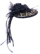 Leopard Print Flat Hat Hair Comb With Flowered Bow