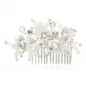 Mariell Couture Bridal Hair Comb with Hand Painted Silver Leaves, Freshwater Pearls and Crystals