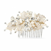 Mariell Couture Bridal Hair Comb with Hand Painted Gold Leaves, Freshwater Pearls and Crystals