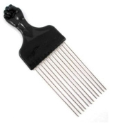 Straight Afro Pick w/ Black Fist - Metal African American Hair Comb!