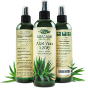 Green Leaf Naturals Organic Aloe Vera Gel Spray for Skin, Hair, Face, After Sun Care and Sunburn Relief - 99.8% Organic - 100% Pure and Natural Skin Care Moisturiser - Unscented, 350mls