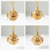 4PCS Mixed Aromatherapy Gold Pendant OVAL Locket Essential Oil Diffuser Necklace