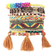 Handmade Sequins Bead Multi-layer Weave Bohemia Bracelet with Tassles