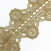5yards Vintage Gold Metallic Embroidered Symmetrical Motif Lace Venice Trim Crochet Cord Applique Embellishment Sewing Accessories T1501