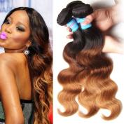 Longqi Hair 7a Grade Ombre Brazilian Virgin Body Wave 100% Human Hair Extensions 3 Bundles 16 16 41cm Fashion Colour 3-tone(1b#/4#/27#) 95-100g/piece