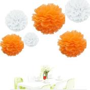 Since ® 12PCS Mixed Sizes White Orange Party Tissue Pom Poms Wedding Garland Pompoms Baby Shower Birthday Party Decoration