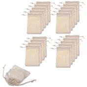 BCP Pack of 20pcs 7.6cm x 10cm Double Drawstring Cotton Muslin Bags Reusable Bags Tea Bags Souvenir Gift Bag