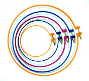 SUNREEK™ 5 Pieces Plastic Cross Stitch Machine Embroidery Hoop Ring Round Loop Needle Sewing Ring Sizes 28cm , 24cm , 20cm , 17cm , 13cm - Various Colours