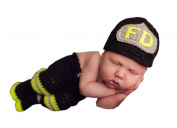 Pinbo® Baby Photo Prop Crochet Firefighter Fireman FD Hat Pants Suspenders