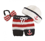 Pinbo® Newborn Baby Photo Prop Crochet Sailor Navy Anchor Bow Hat Pants