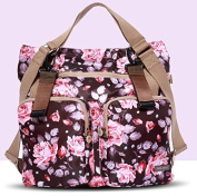 Nappy Bag Travel Backpack Shoulder Bag with Baby Changing Pad - Flower